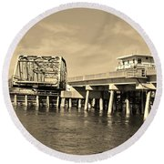Surf City Bridge - Sepia Round Beach Towel