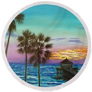 Surf City Sunset Round Beach Towel