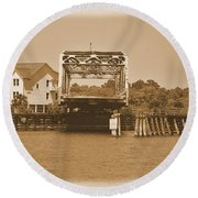 Surf City Vintage Swing Bridge In Sepia 1 Round Beach Towel