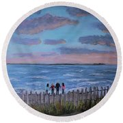 Surf Drive Beach Sunset With The Family Round Beach Towel by Rita Brown