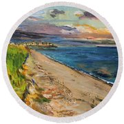 Round Beach Towel featuring the painting Surf Drive Falmouth by Michael Helfen