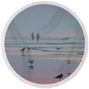 Round Beach Towel featuring the photograph Surf Fishing In Wildwood by Bill Cannon