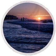 Surf Fishing At Sunrise Round Beach Towel