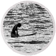Surf Meditation Round Beach Towel