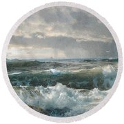 Surf On The Rocks Round Beach Towel by  Newwwman