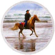 Surf Rider Round Beach Towel by Wendy McKennon