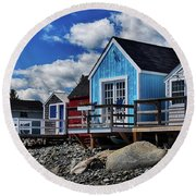 Surf Shacks Round Beach Towel by Tricia Marchlik