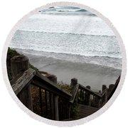 Round Beach Towel featuring the photograph Surf Stairway by Lorraine Devon Wilke