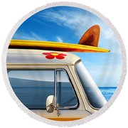 Surf Van Round Beach Towel by Carlos Caetano