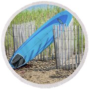 Round Beach Towel featuring the photograph Surfboard And Sandals by Art Block Collections