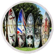 Surfboard Hana Maui Hawaii Round Beach Towel by Peter Dang