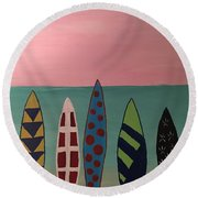 Round Beach Towel featuring the painting Surfboards At On Beach by Paula Brown