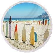 Surfboards On Ipanema Beach, Rio De Janeiro Round Beach Towel