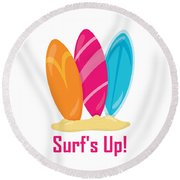 Surfer Art - Surf's Up Surfboards Round Beach Towel