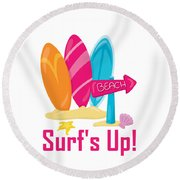 Surfer Art - Surf's Up To The Beach With Surfboards Round Beach Towel