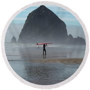 Surfer At Haystack Rock Round Beach Towel
