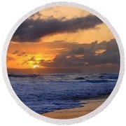 Surfer At Sunset On Kauai Beach With Niihau On Horizon Round Beach Towel