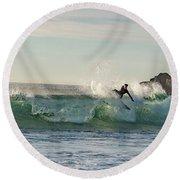 Surfer Carlsbad Jetty Round Beach Towel
