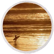 Surfer Round Beach Towel by Delphimages Photo Creations
