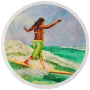 Surfer Girl Round Beach Towel