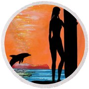 Surfer Girl With Dolphin Round Beach Towel