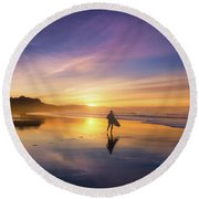 Surfer In Beach At Sunset Round Beach Towel