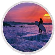 Round Beach Towel featuring the photograph Surfer On Rock Looking Out From Blowing Rocks Preserve On Jupiter Island by Justin Kelefas