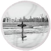 Surfer On The Beach Round Beach Towel