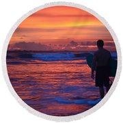 Surfer Sunset Costa Rica Round Beach Towel