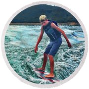 Surfer Tate Round Beach Towel