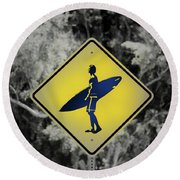 Surfer Xing Round Beach Towel