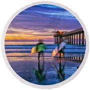 Surfers At Scripps Pier In La Jolla California Round Beach Towel