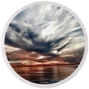 Surfers At Sunset Round Beach Towel