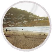 Surfers Just Before Sunset Round Beach Towel