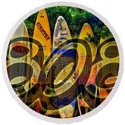 Surfin' 808 Round Beach Towel by DJ Florek