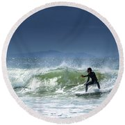 Surfing At Byron Bay Round Beach Towel