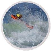 Surfing Dog Round Beach Towel