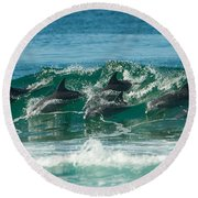 Surfing Dolphins 4 Round Beach Towel