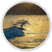 Surfing In Rio Round Beach Towel by Lana Enderle