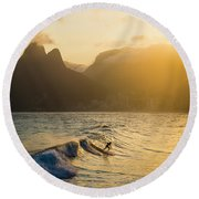 Surfing Magic Round Beach Towel by Lana Enderle