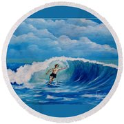Surfing On The Waves Round Beach Towel