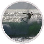 Round Beach Towel featuring the photograph Surfing The Light by Thierry Bouriat
