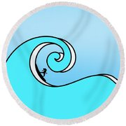 Surfing The Wave Round Beach Towel