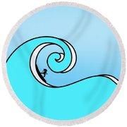 Surfing The Wave Round Beach Towel
