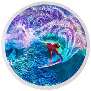 Surfs Like A Girl 1 Round Beach Towel by ABeautifulSky Photography