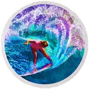 Surfs Like A Girl 2 Round Beach Towel by ABeautifulSky Photography
