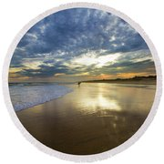 Surf's Up At Rogers Beach Round Beach Towel