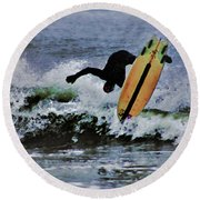 Surfs Up Round Beach Towel by B Wayne Mullins