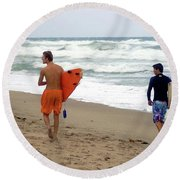 Surfs Up Boys Round Beach Towel