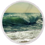 Round Beach Towel featuring the photograph Surf's Up by Laura Fasulo